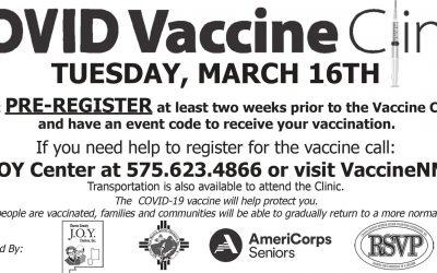 JOY Center COVID Vaccine Clinic, March 16, 2021